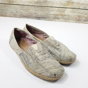 TOMS Slip On Casual Canvas Striped Shoe Espadrille